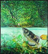 John Valadez (b. 1951) American FISH AND INSECTS,