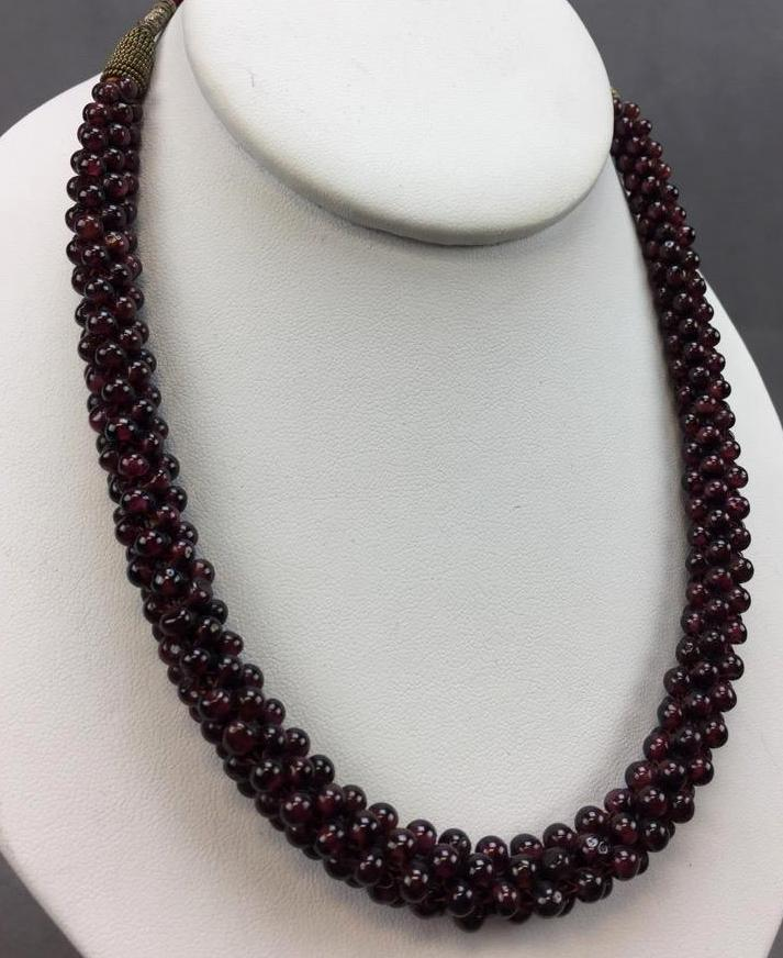 Lovely beaded Garnet necklace on crimson braided silk string