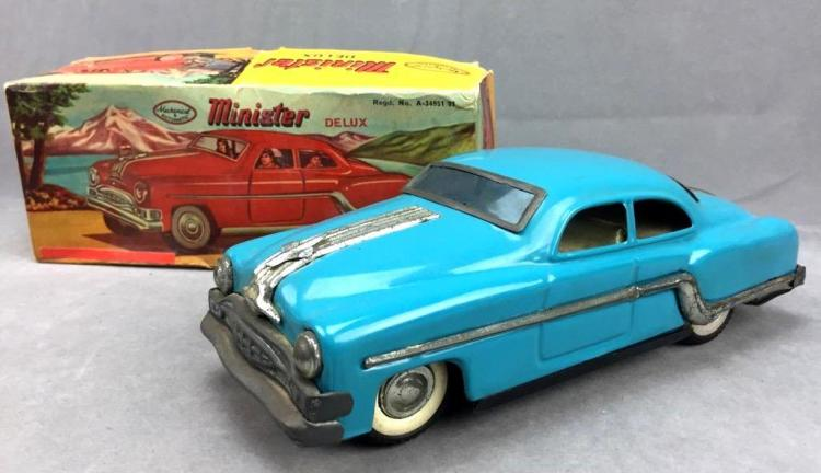 Minister Deluxe friction-action blue sedan, model A-34951 81 with original box