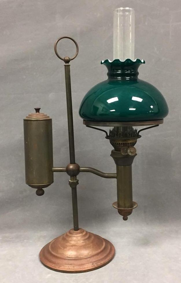 Early brass oil lamp w/green glass shade