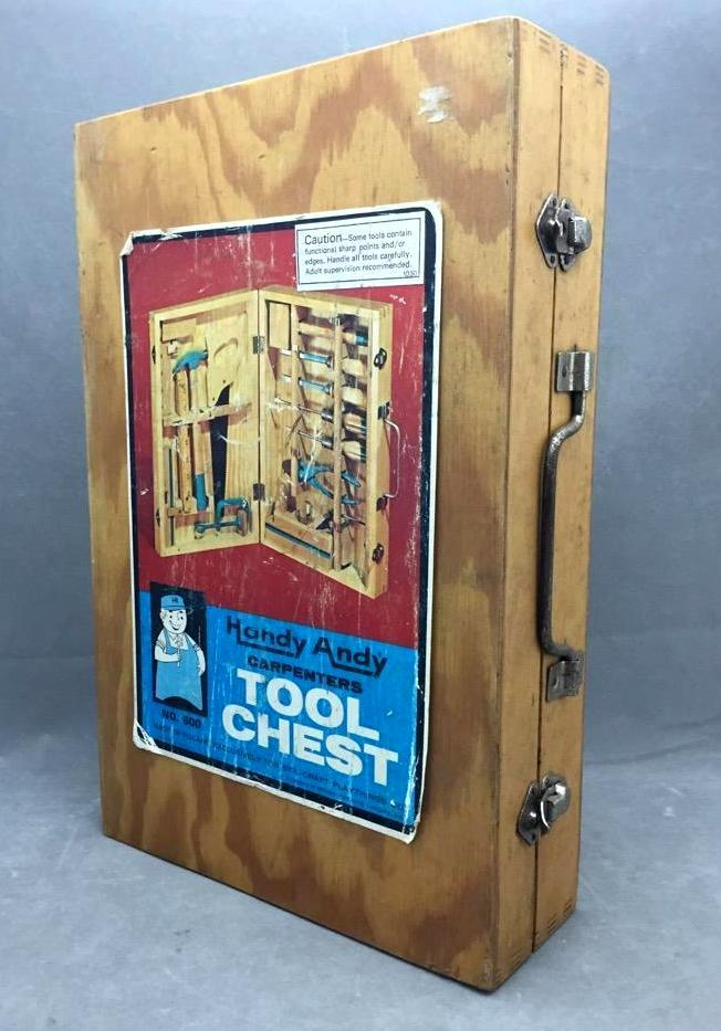Vintage Handy Andy child's carpentry tool chest