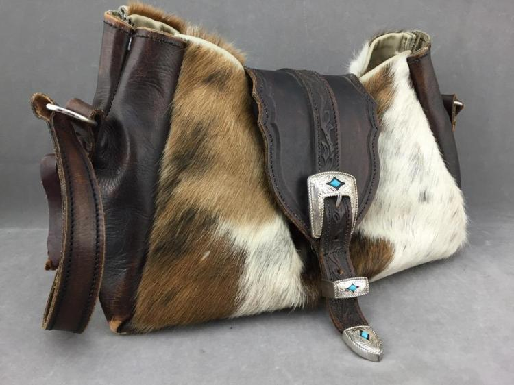 Custom made modern cowhide purse with ornate silver tone buckles inlaid with turquoise color stone w/ magnetic quick clasp