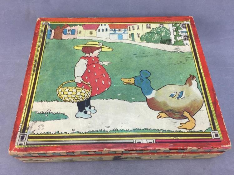 Antique German puzzle blocks in original box