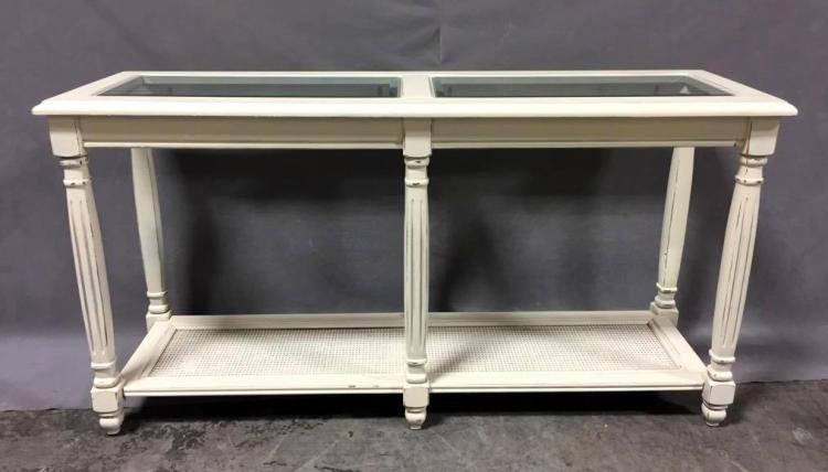 Painted side table with glass inserts and cane panel
