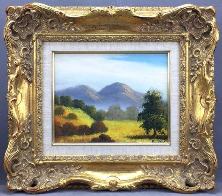 Impressionist landscape oil painting on board in ornate gilt frame, signed