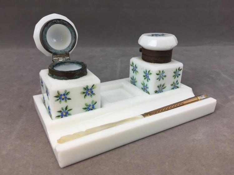 (2) Antique Hand painted glass inkwell set w/ mother of pearl & 10K gold fountain pen