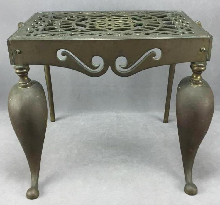 Mid-late 1800s brass hearth trivet with mandala design top