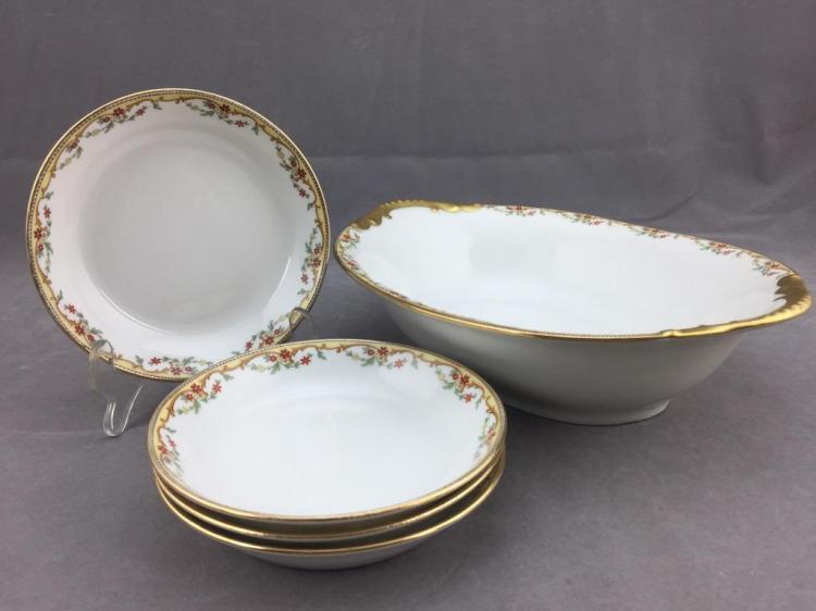 (4) Vignaud Limoges porcelain dishes w/ gilded floral design
