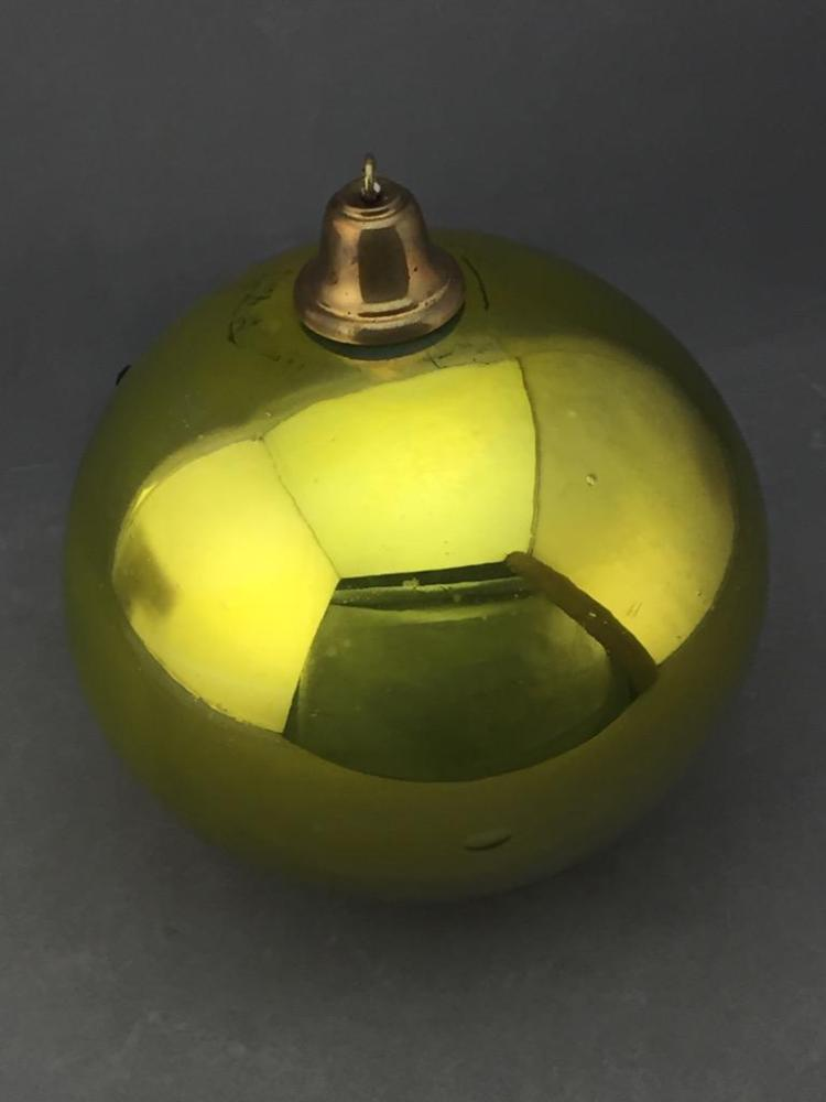 French hand blown department store Christmas ornament in metallic yellow with brass hanger
