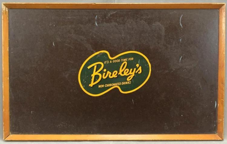 Vintage Bireley's drinks shop sign with beveled wooden frame