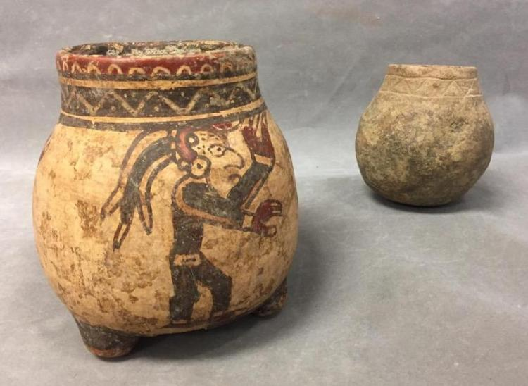 (2) Older hand-painted Peruvian pottery pieces