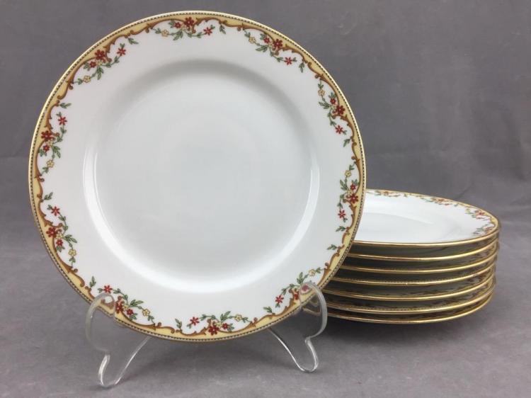 (8) Vignaud Limoges porcelain dessert plates w/ gilded floral design