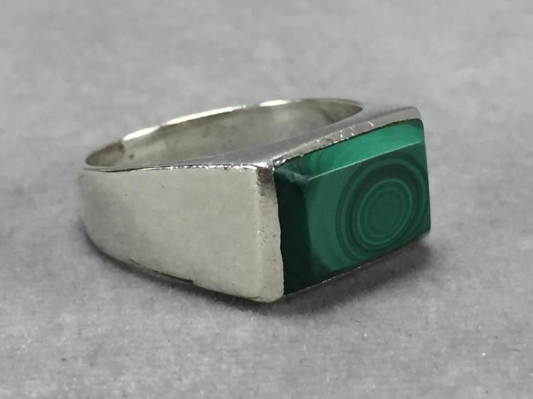 Men's sterling silver malachite ring