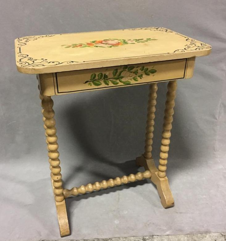 Antique Victorian end table adorned with original hand-painted floral motif and barley twist legs