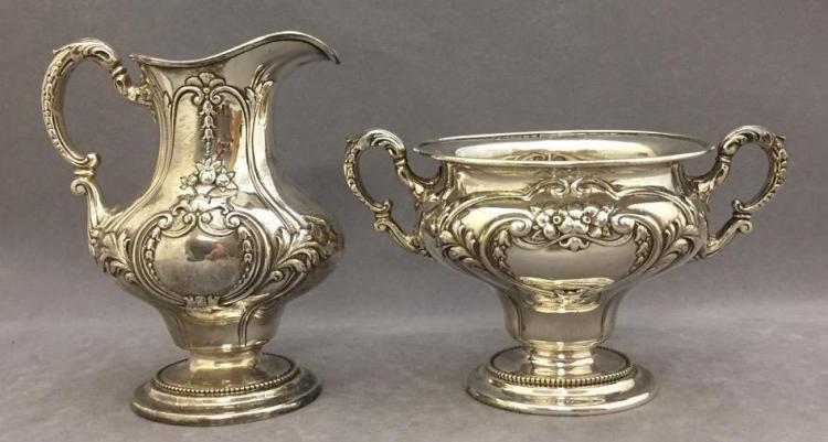 Sterling silver Gorham creamer & sugar, 343.7g