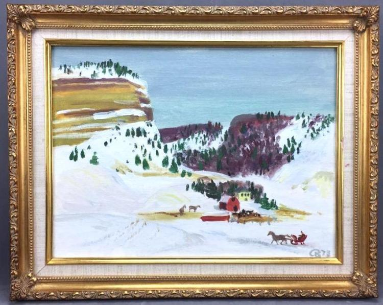 Mid Century winter landscape oil painting by Cameron Booth