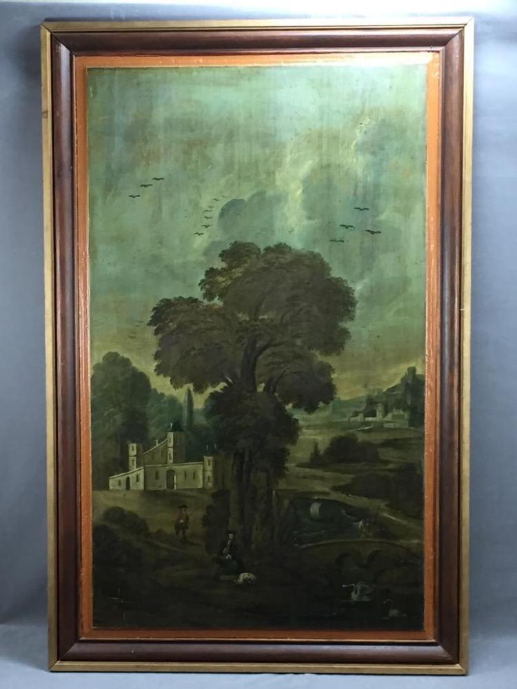 Large Antique landscape-hunting scene oil painting on wood, c. 19th century