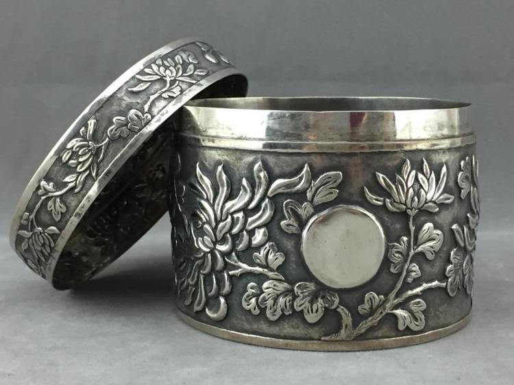 Antique Chinese Silver  floral embossed vessel