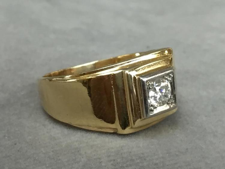 14k Yellow Gold brilliant cut diamond ring (.30ctw diamond) w/ $4,240.00 A.I.G. appraisal.