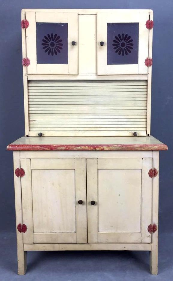 Child's Hoosier cabinet with frosted glass and roll up door