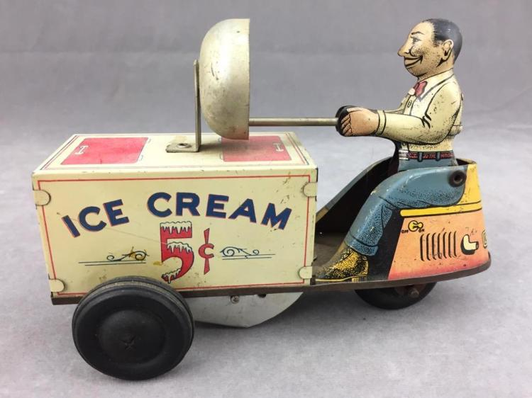 Vintage tin toy, WaltReach wind-up ice cream scooter toy by Courtland