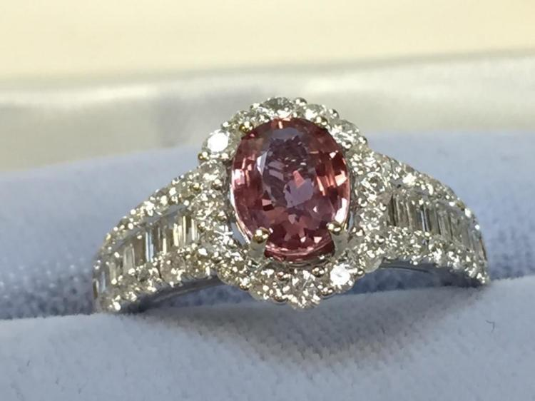 18k White Gold Pink Sapphire and Diamond ring (1.09ct sapphire .82ct diamonds) w/ $9,350.00 A.I.G. appraisal.