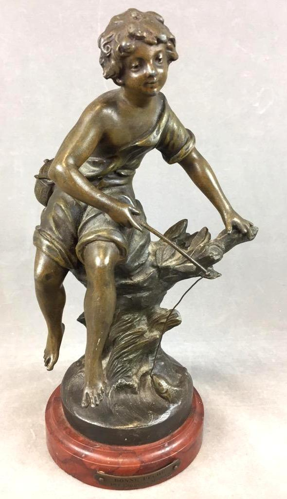 19th Century statue of boy fishing, signed by Bonne Pech, Francis Moreau