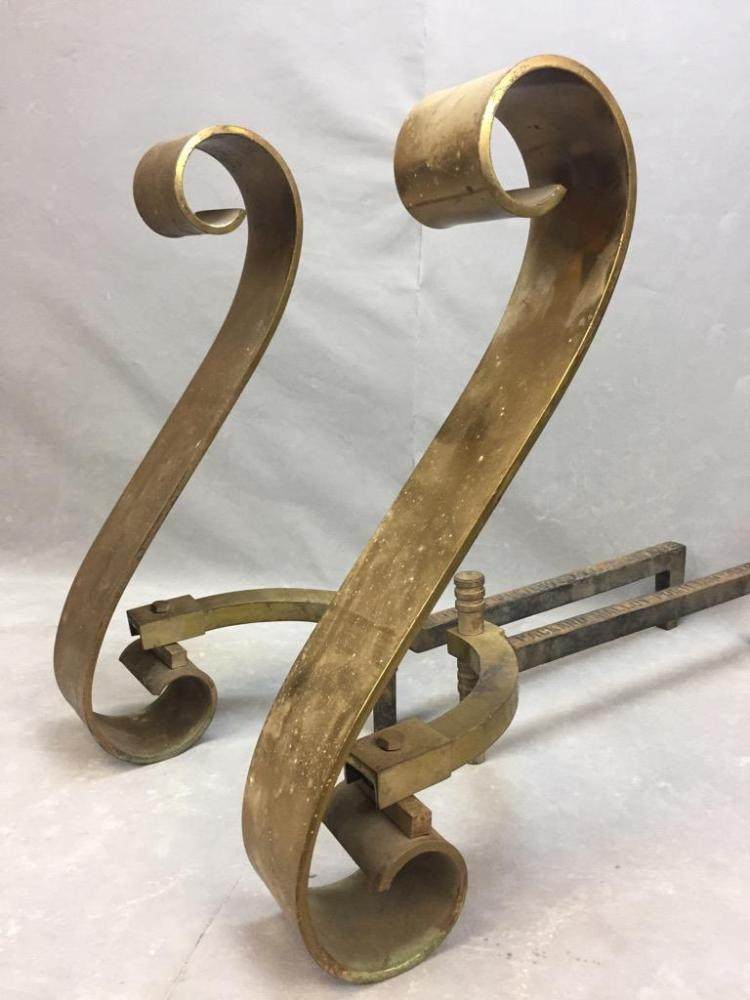 Turn-of-the-Century brass fireplace andirons made by Packard Malloy Co