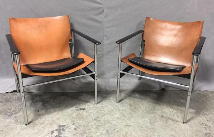 Fabulous Pair of Charles Pollock for Knoll, Mid-Century Modern sling arm lounge chairs