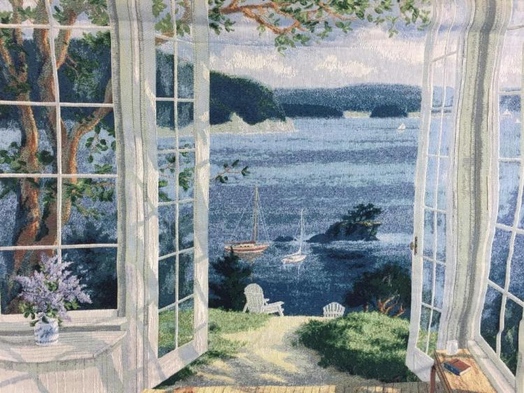 Intricate tapestry of lake scene from patio, signed R. Van Beek