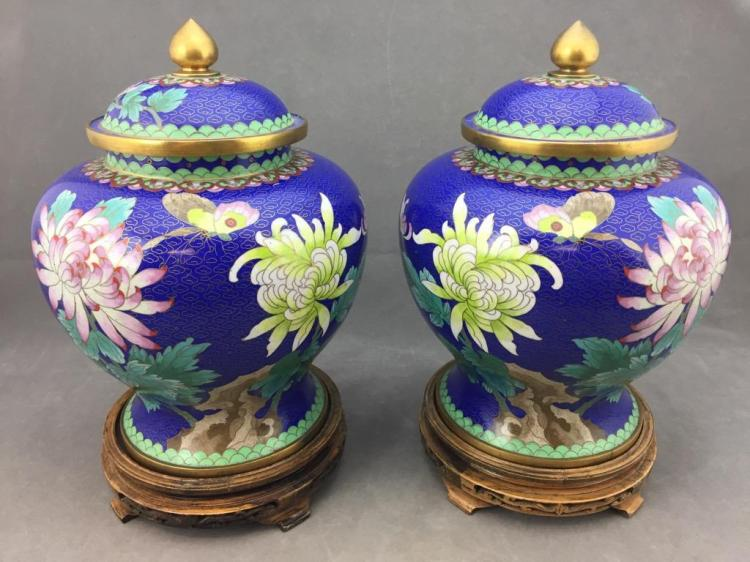 Gorgeous pair of Cloisonne Chinese Zi Jin Chang w/ intricate floral & butterfly designs