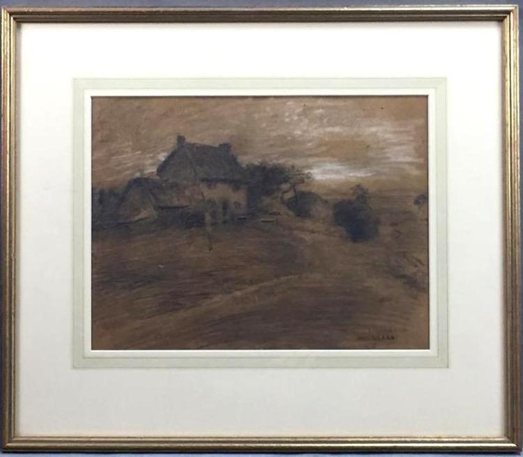 Antique graphite & charcoal farm house drawing by Edward Scott (1858-1919),