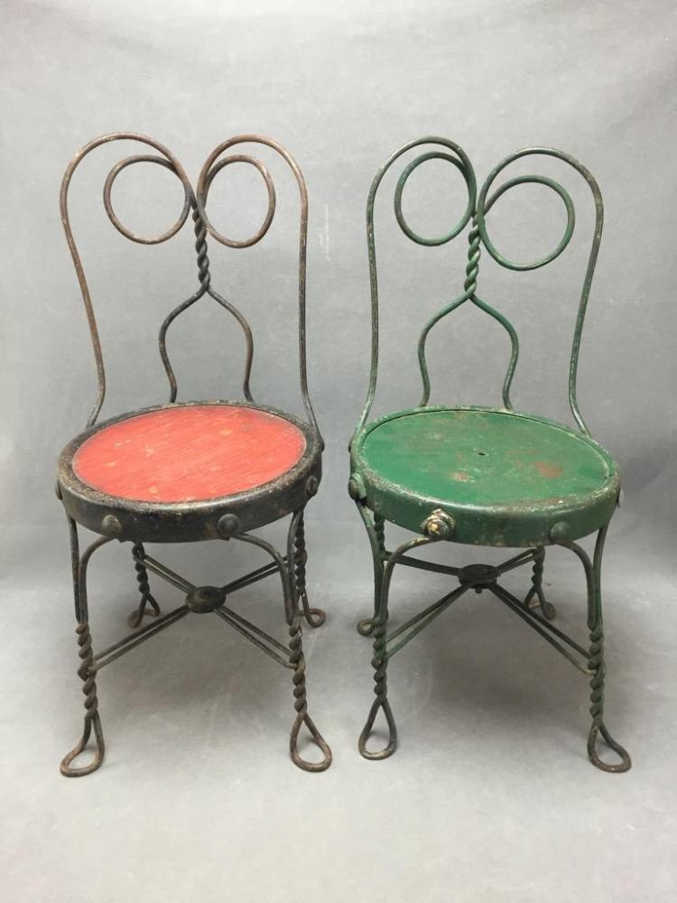 (2) 1890's Children's ice cream parlor chairs from Missouri in red and green