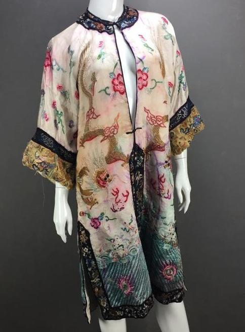 Beautiful Older Chinese silk robe with dragon designs and gold stitching