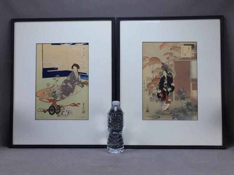 (2) Antique Japanese woodblock prints