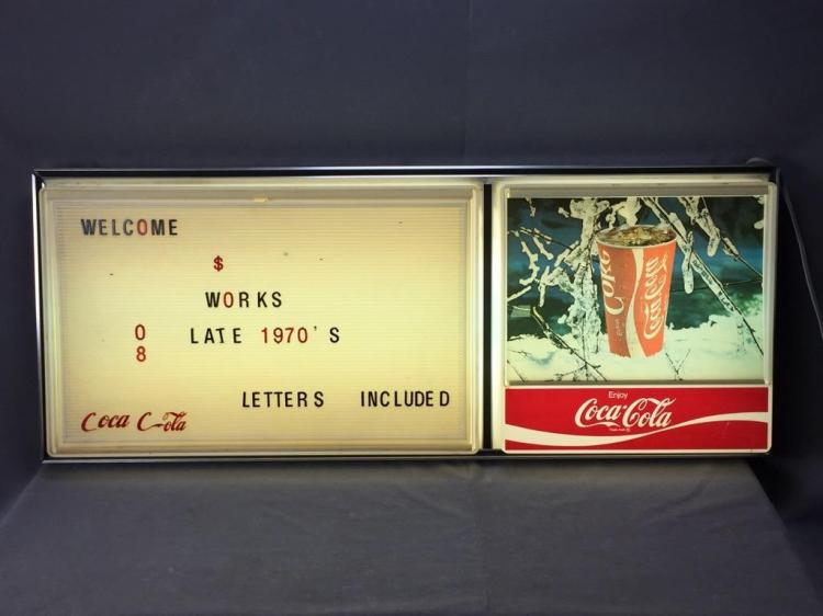 Vintage 1970s Coca-Cola light up hanging store sign