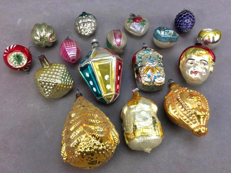 Collection of vintage figural mercury glass Christmas ornaments, made in West Germany