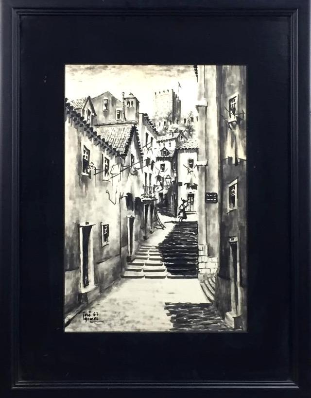 Mid Century town scene ink painting, signed & dated 1967