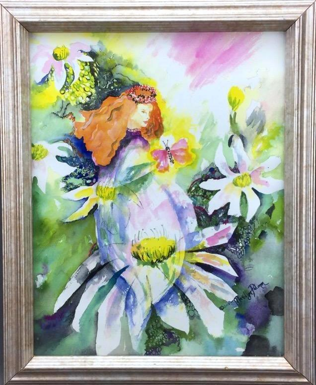 Fairy fantasy watercolor painting by Marilyn Palmer, signed & dated