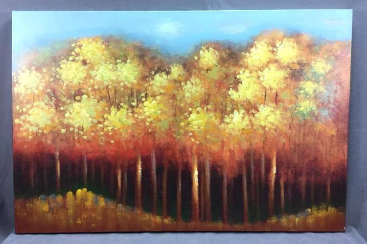 Large landscape oil on canvas, beautiful fall colors