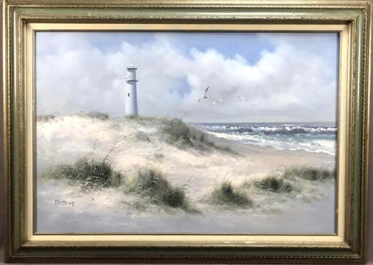 Large seascape lighthouse oil painting on canvas, signed
