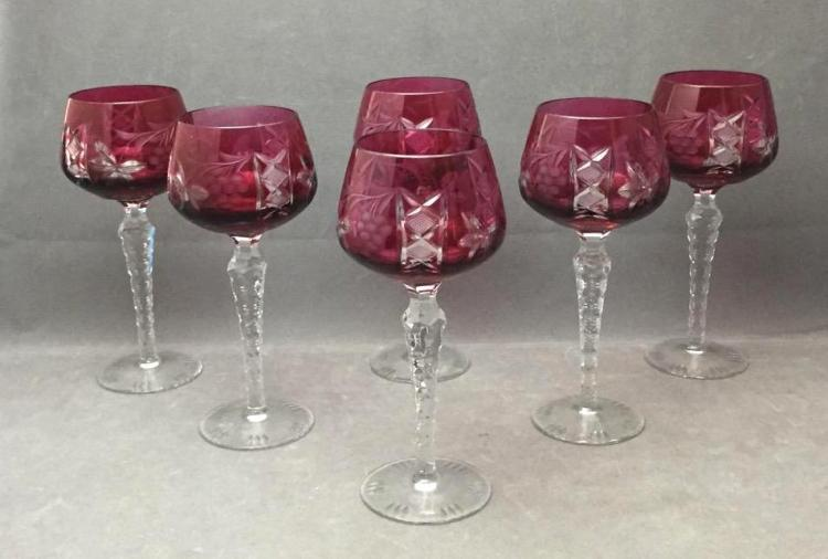 (6) Vintage raspberry cut to clear wine glasses