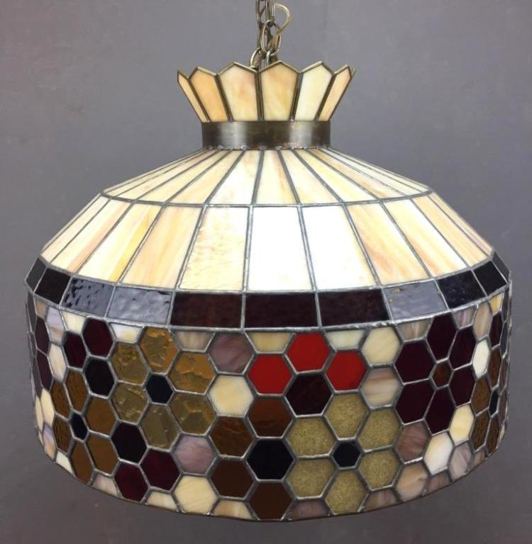Beautiful large Mid Century stained glass hanging lamp with diffuser globe