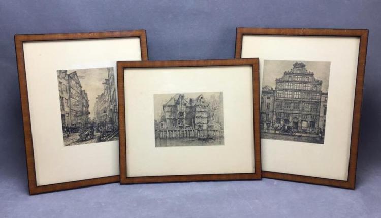 Set of (3) Vintage German prints of Hamburg city life