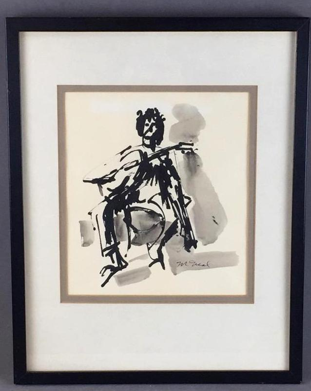 Figurative guitar player ink painting, signed
