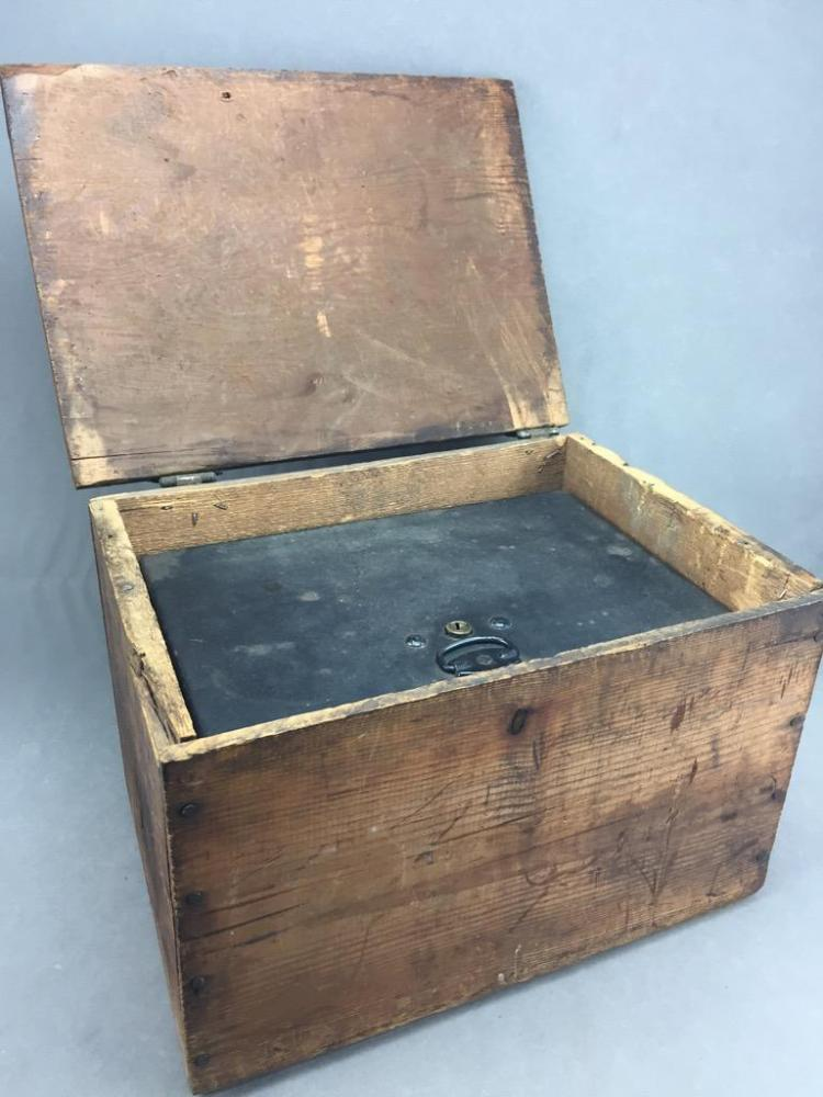 Antique Heavy Steel Lock Box with rustic stamped wooden case