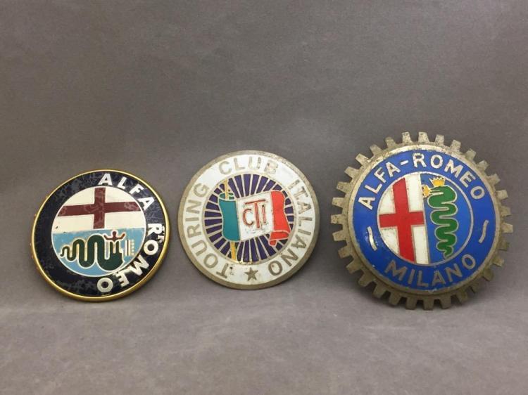 (3) Italian enameled Alfa Romero motor plaques