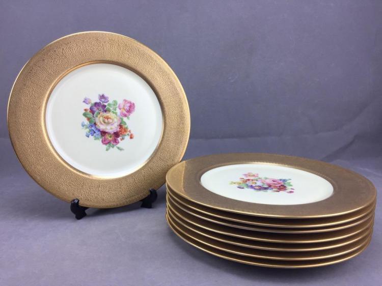 Set of (8) gold leaf service dinner plates with floral design