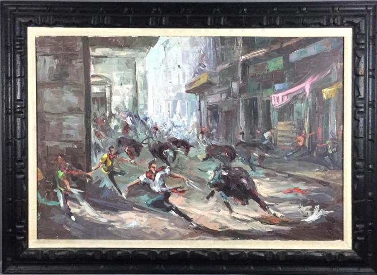 Large Mid Century Running of the Bulls oil on canvas