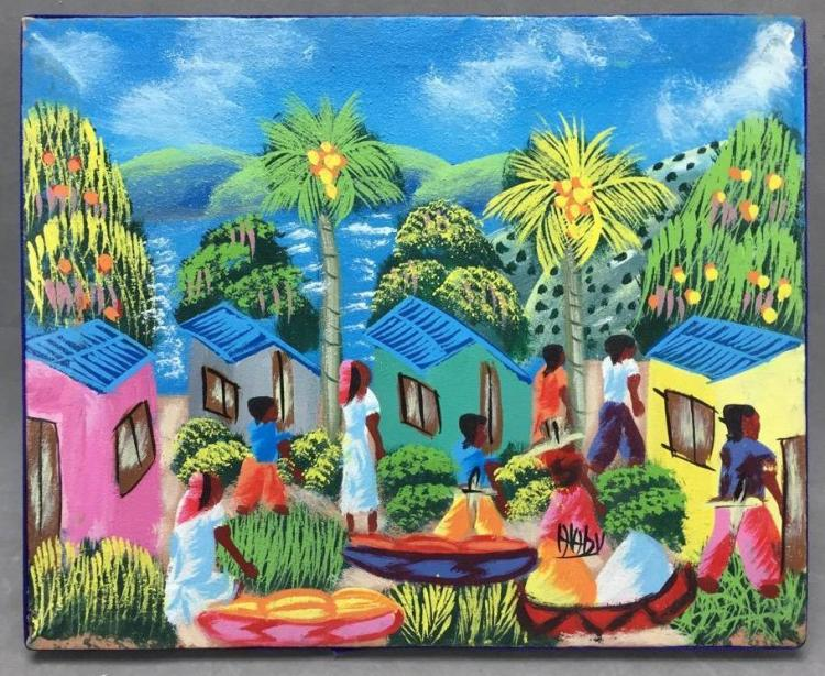 Vibrant Oil on canvas signed by Haitian artist Alabi